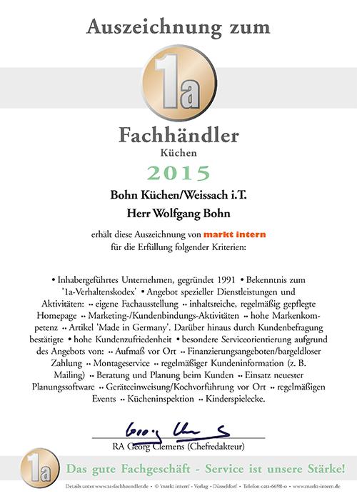 Zertifikat Bohn Küchen 2015