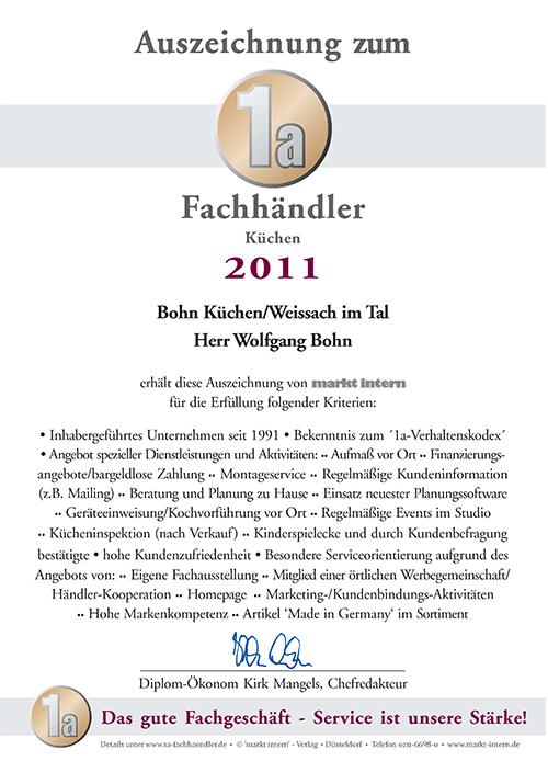 Zertifikat Bohn Küchen 2011